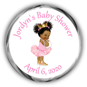 Princess Baby Shower Kisses Stickers - Darker Complexion