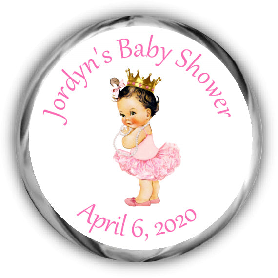 Princess Baby Shower Kisses Stickers - Lighter Complexion