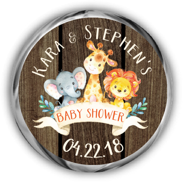 Jungle Baby Shower Kisses Stickers