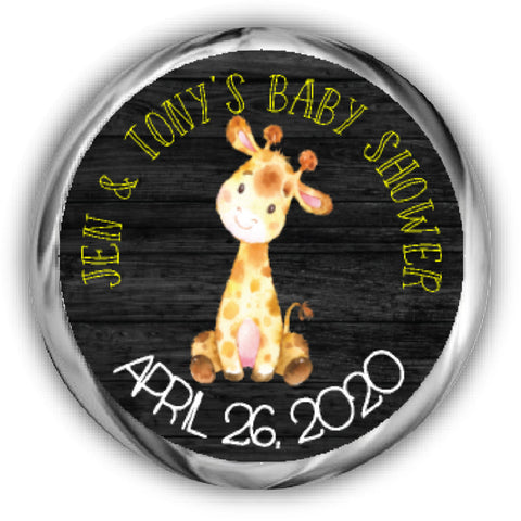 Giraffe Baby Shower Kisses Stickers