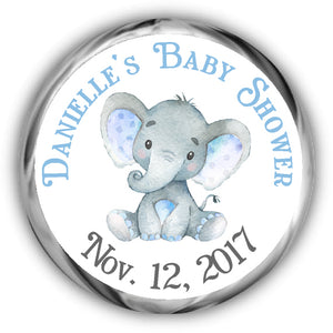 Elephant Baby Shower Hershey Kisses Stickers - Boy