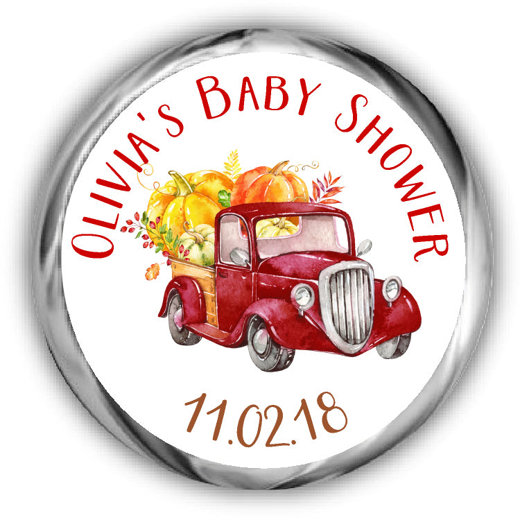 Red Truck Pumpkin Baby Shower Kisses Stickers