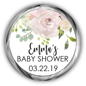 Blush Floral Baby Shower Kisses Stickers
