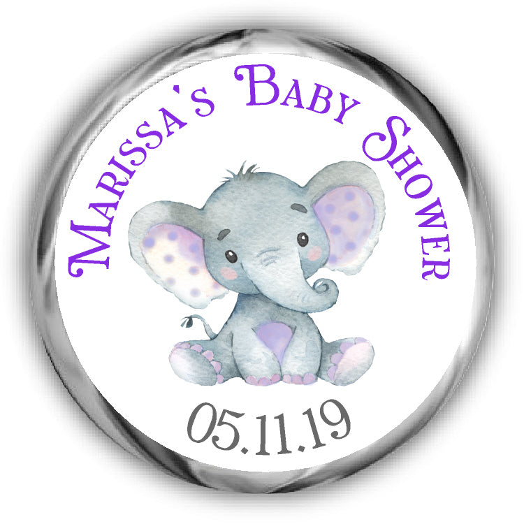 Purple Elephant Baby Shower Kisses Stickers