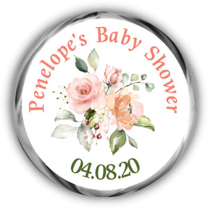 Peach Baby Shower Kisses Stickers