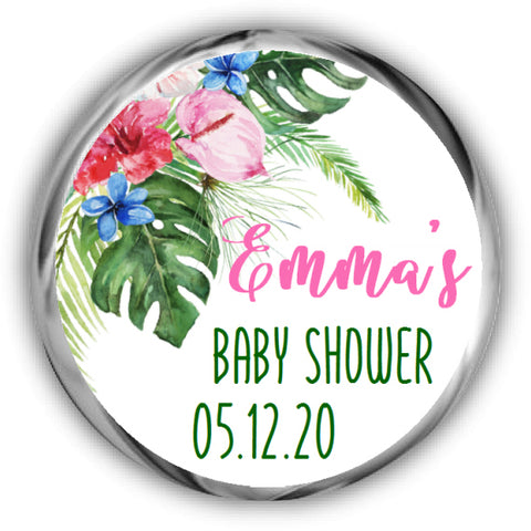 Tropical Baby Shower Kisses Stickers