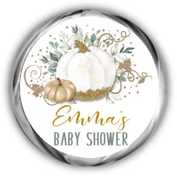 Pumpkin Baby Shower Kisses Stickers