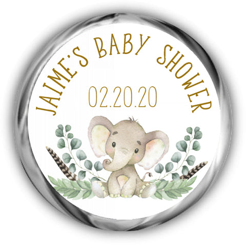 Gold Elephant Baby Shower Kisses Stickers
