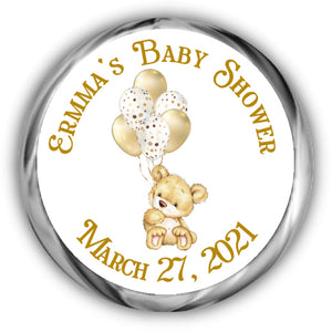 Teddy Bear Baby Shower Kisses Stickers