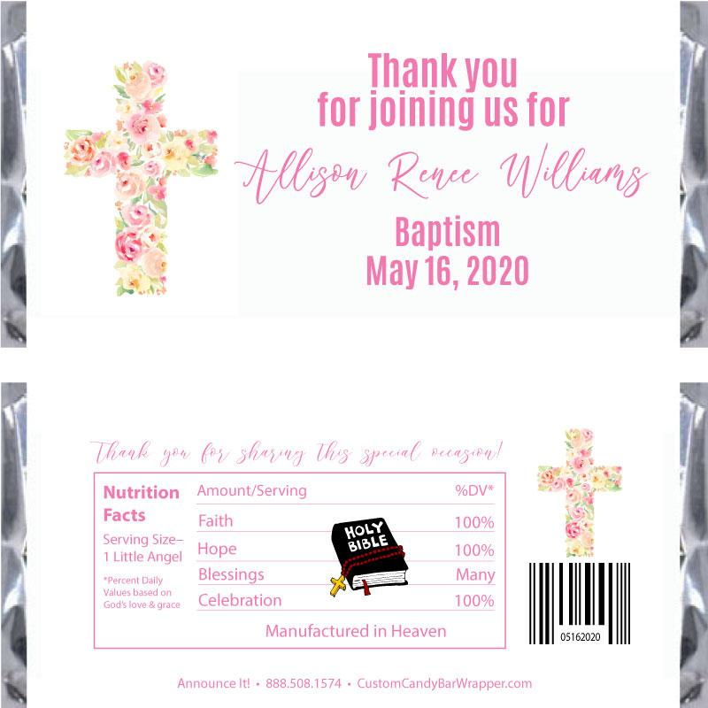 Floral Cross Baptism Candy Wrapper