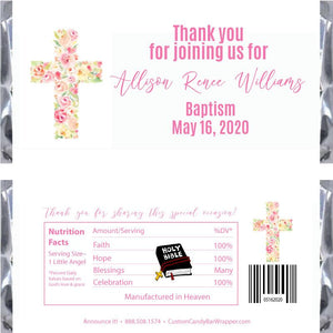 Floral Cross Baptism Candy Bar Wrappers