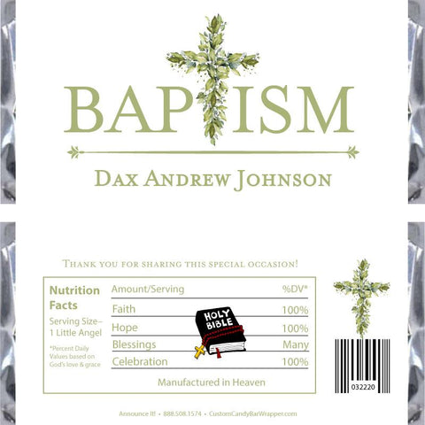 Greenery Cross Baptism Candy Bar Wrappers