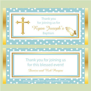 Dotted Cross Baptism Candy Bar Wrappers