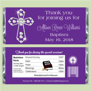 Diamond Cross Baptism Candy Bar Wrappers