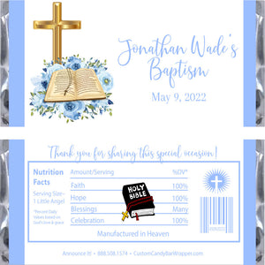 Bible Boy Baptism Candy Bar Wrappers