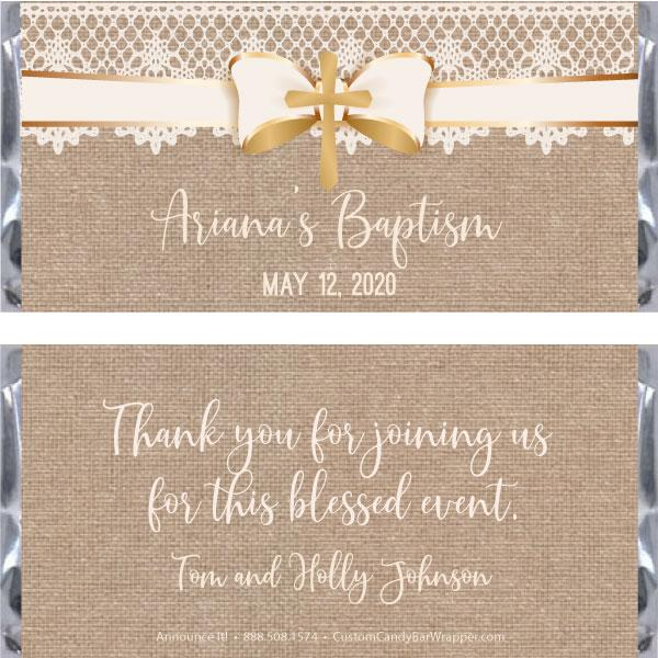 Burlap Lace Baptism Candy Bar Wrappers
