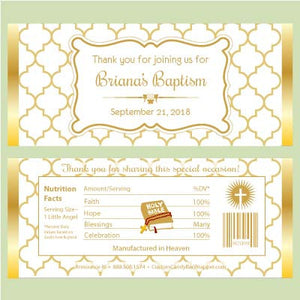 Quatrefoil Baptism Candy Bar Wrapper