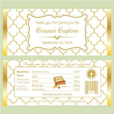 Quatrefoil Baptism Candy Bar Wrappers