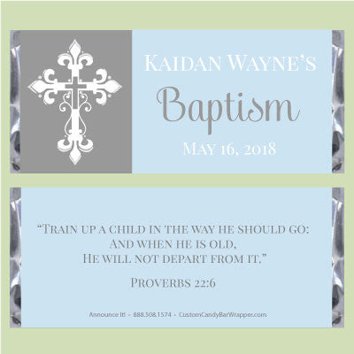 Lovely Cross Baptism Candy Wrapper