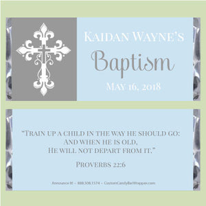 Lovely Cross Baptism Candy Bar Wrappers