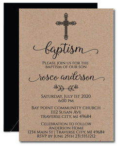 Kraft Baptism Invitations