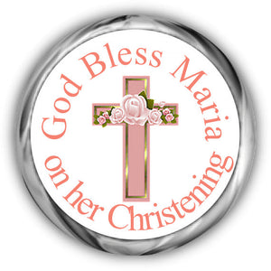 Pink Cross Baptism Kisses Stickers