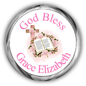 Pink Bible Christening Kisses Stickers