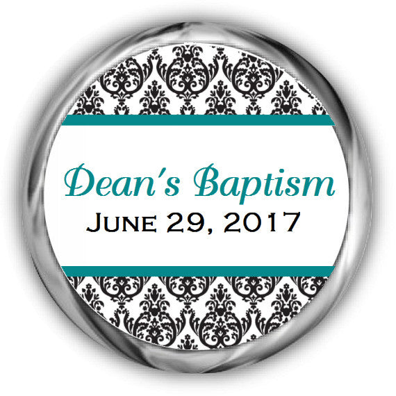 Damask Baptism Kisses Stickers