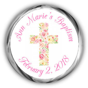Floral Cross Baptism Kisses Sticker