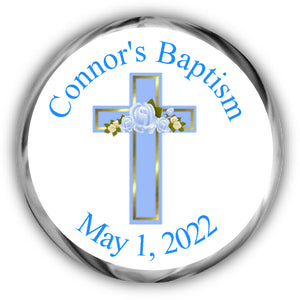 Blue Cross Baptism Kisses Stickers