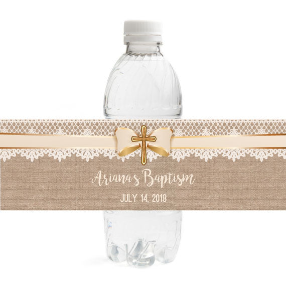 Burlap Baptism Bottle Label