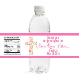 Floral Cross Baptism Bottle Label