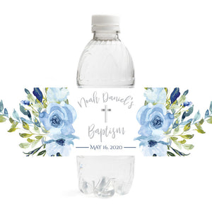 Blue Floral Baptism Water Bottle Labels