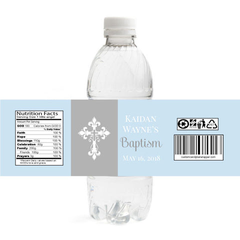 Cross Christening Bottle Label