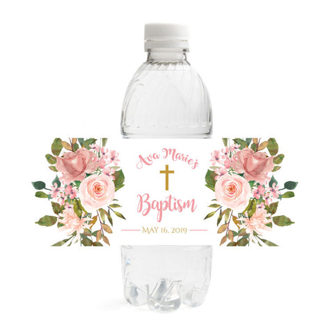 Floral Baptism Water Bottle Labels