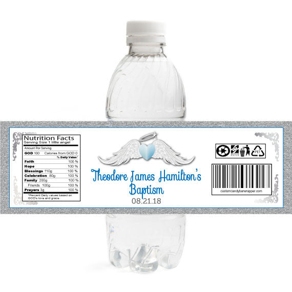 Boy Heaven Sent Baptism Bottle Label