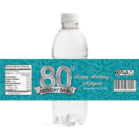 Diamond 80th Birthday Bottle Label