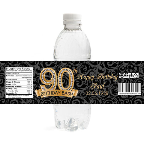 Diamond 90th Birthday Bottle Label