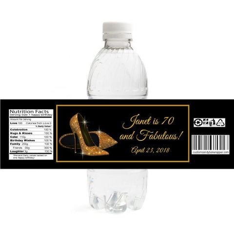 Gold Heels Birthday Water Bottle Labels
