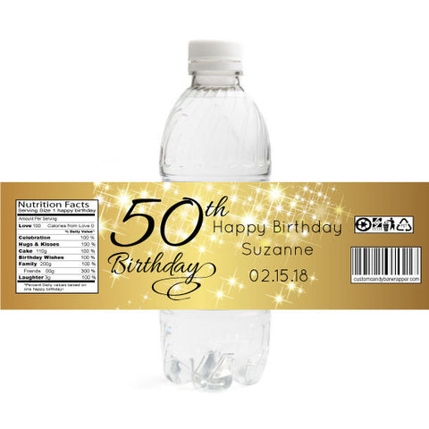 Sparkly Gold Birthday Bottle Label
