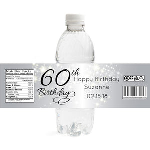 Sparkly Silver Birthday Bottle Label