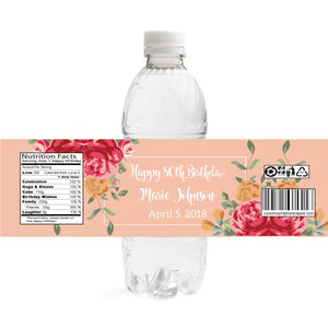 Floral Birthday Bottle Label