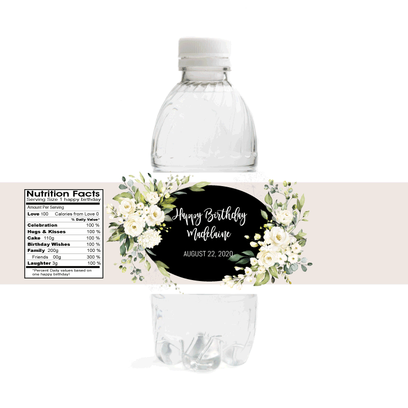 White Floral Birthday Water Bottle Labels