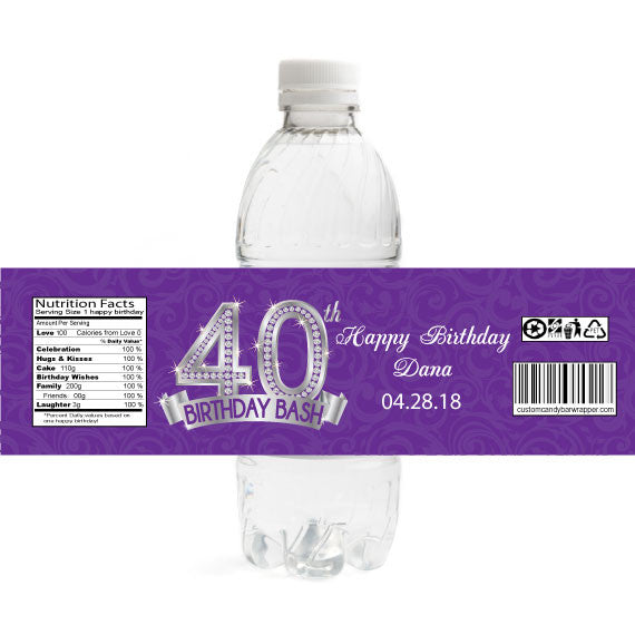 Diamond 40th Birthday Bottle Label