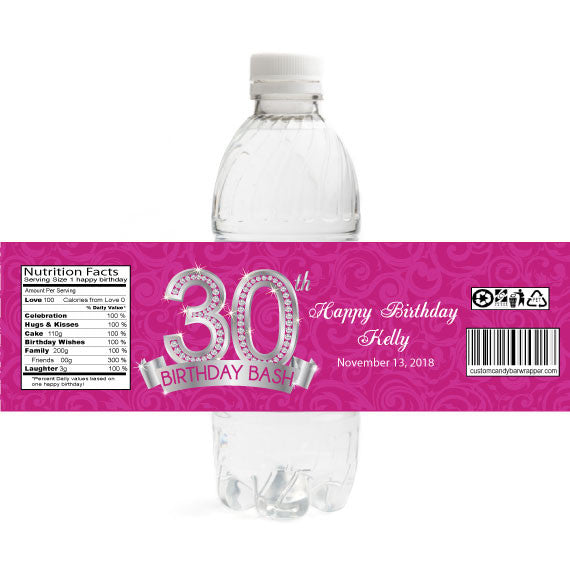 Diamond 30th Birthday Bottle Label