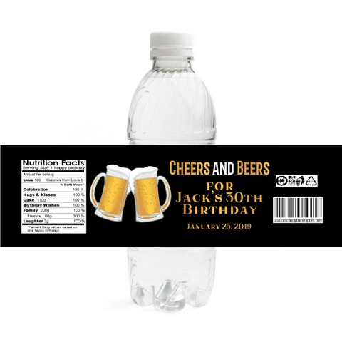 Cheers & Beers Birthday Water Bottle Labels