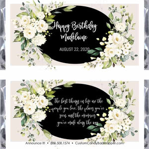 White Floral Birthday Candy Bar Wrappers