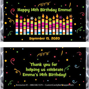 Candles Birthday Candy Bar Wrappers