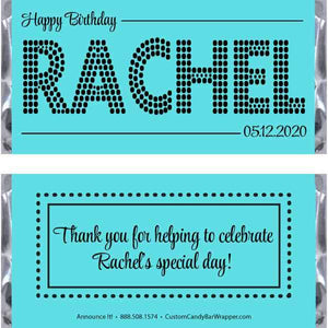 Dotted Name Birthday Candy Bar Bar Wrappers