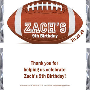 Football Birthday Candy Bar Wrappers